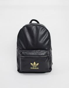 Черный/золотистый рюкзак с логотипом-трилистником adidas Originals-Мульти