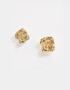 Золотистые серьги-гвоздики с в виде розы Pieces-Золотой