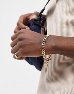Золотистый браслет-цепочка с подвеской-ключом Chained & Able-Золотой