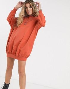 Трикотажное oversized-платье мини ASOS DESIGN-Оранжевый