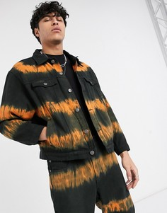 Черно-оранжевая джинсовая куртка с принтом тай-дай One Above Another-Черный