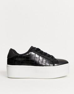 Черные кроссовки с крокодиловым рисунком, шнуровкой и массивной подошвой ASOS DESIGN-Черный