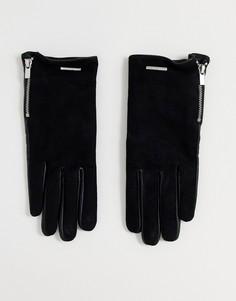 Черные кожаные перчатки с молнией ALDO Croedda-Черный