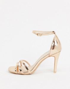 Босоножки на каблуке с квадратным носком и ремешками Miss KG-Медный