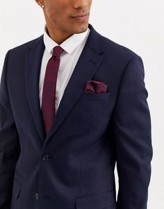 Бордовый галстук и платок для нагрудного кармана с цветочным принтом Moss London-Красный