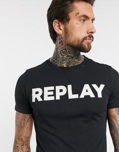 Черная футболка с круглым вырезом и логотипом Replay-Черный