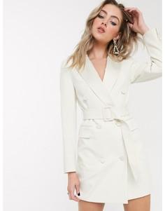 Платье-смокинг цвета слоновой кости Topshop-Белый