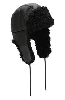 Кожаная шапка-ушанка с отделкой из меха каракульчи FurLand