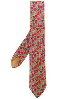 Hermès Pre-Owned галстук с принтом ягод и птиц