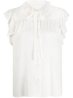 MSGM блузка с завязками на воротнике и оборками