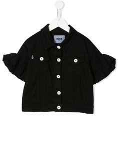 Msgm Kids джинсовая куртка с укороченными рукавами и оборками