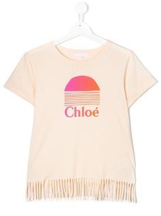 Chloé Kids футболка с бахромой