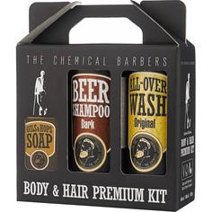 Подарочный набор The Chemical Barbers Восстанавливающий Шампунь для волос с аргановым маслом + очищающее средство для лица, тела и волос + мыло ручной работы 2x440 мл + 100 г