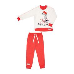 Спортивный костюм Lucky Child: толстовка и брюки коралл/молочный 110-116