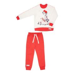 Спортивный костюм Lucky Child: толстовка и брюки коралл/молочный 116-122