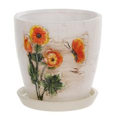 Горшок цветочный с поддоном Dehua ceramic дизайн весна 12x12x11см
