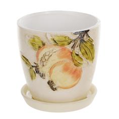 Горшок цветочный с поддоном Dehua ceramic дизайн гранат 12x12x11см