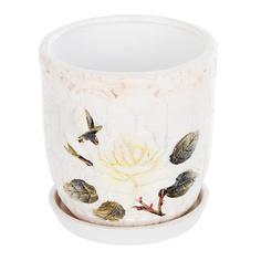 Горшок цветочный с поддоном Dehua ceramic, дизайн rosebud 18x18x16см
