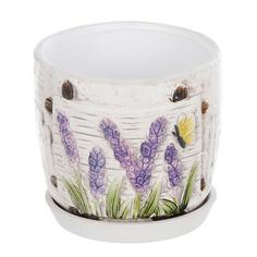 Горшок цветочный с поддоном Dehua ceramic, дизайн цветение 15x15x14см