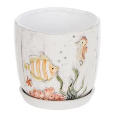 Горшок с поддоном Dehua ceramic рыбки 12x12x11 см