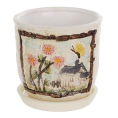 Горшок цветочный с поддоном Dehua ceramic, дизайн пейзаж 18x18x16см
