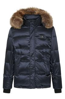 Синяя куртка с меховой опушкой на капюшоне Billionaire