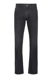 Черные джинсы с кожаной нашивкой Billionaire