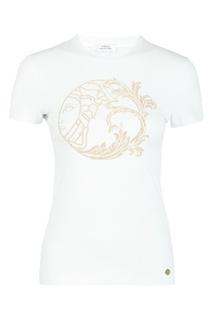Белая футболка с рисунком из стразов Versace Collection