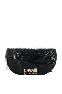 Черная поясная сумка с логотипом Cavalli Class