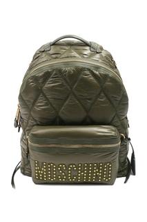 Стеганый рюкзак цвета хаки Moschino