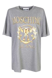 Серая хлопковая футболка с принтом Moschino