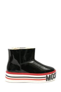 Ботинки из лаковой кожи с контрастной отделкой Moschino