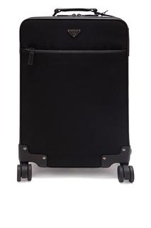 Черный чемодан из текстиля Prada