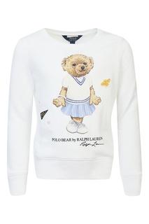 Белый свитшот из хлопковой ткани Ralph Lauren Kids