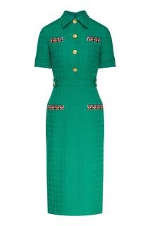 Зеленое платье с разноцветной отделкой Gucci