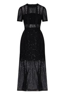 Черное платье с короткими рукавами Self Portrait
