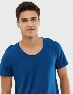 Футболка с овальным вырезом Selected Homme-Синий