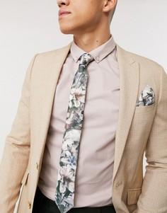 Галстук и платок для нагрудного кармана с черепами и цветочным принтом Religion-Серый