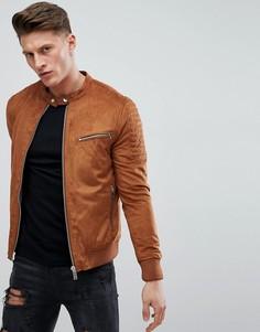 Светло-коричневая куртка из искусственной замши River Island-Рыжий