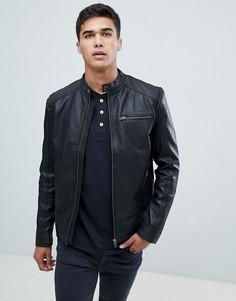 Кожаная байкерская куртка Selected Homme-Черный