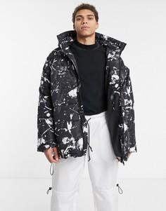 Черная дутая oversize-куртка с принтом брызг ASOS DESIGN-Черный