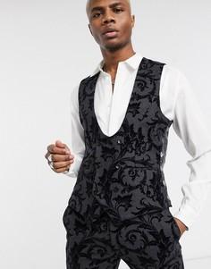 Темно-серый жилет с набивкой флок Twisted Tailor
