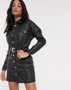 Черное джинсовое платье-рубашка с покрытием и поясом River Island-Черный