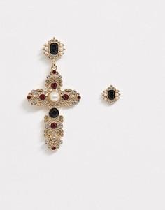 Золотистые серьги с крестом Topman-Золотой