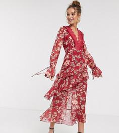 Красное жаккардовое платье макси с кружевной вставкой и цветочным рисунком Dark Pink-Красный