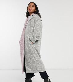 Пальто с леопардовым принтом ASOS DESIGN Petite-Мульти