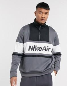 Серый свитшот с короткой молнией Nike Air