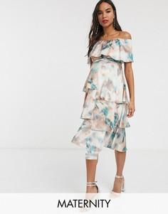 Платье с открытыми плечами и мраморным принтом Little Mistress Maternity-Мульти
