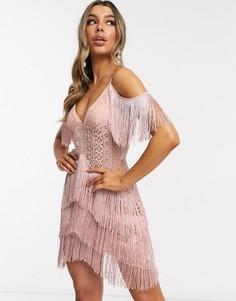 Ажурное платье с открытыми плечами I Saw It First-Розовый