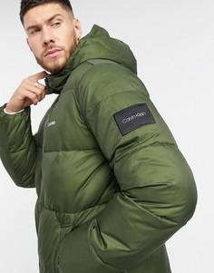 Нейлоновая дутая куртка цвета хаки Calvin Klein-Зеленый